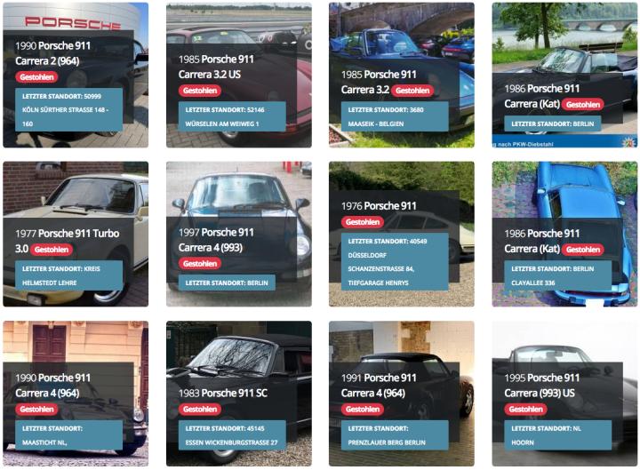 Bei Diebstählen aus Tiefgaragen sind häufig Porschemodelle betroffen - fast 2/3 dieser Klassiker waren dort geparkt